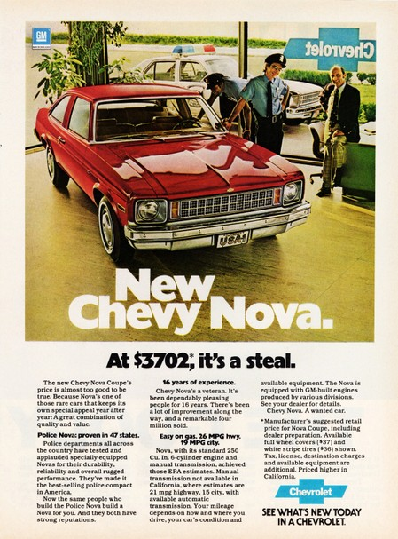 Image of the 1978 Chevrolet Nova Coupe advertisement: New Chevy Nova at $3720; it's a steal