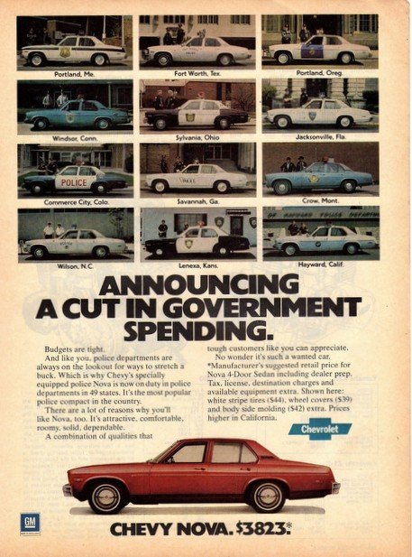 Image of the 1978 Chevy Nova Advertisement with 12 Police Cars