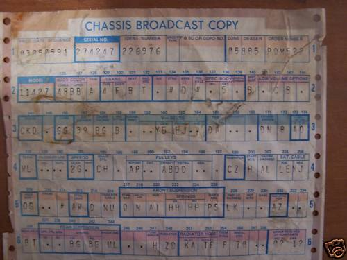 GM Chassis Broadcast Sheet